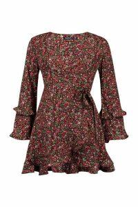 Womens Petite Floral Long Sleeve Wrap Dress - Black - 14, Black