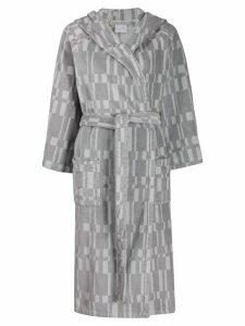 Hermès pre-owned geometric pattern hooded robe - Grey