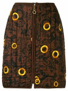 Céline Pre-Owned animals print quilted skirt - Brown