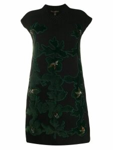 Louis Vuitton pre-owned hair-textured patches knitted dress - Black