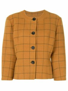Christian Dior check print fitted jacket - Brown