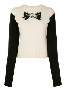 Chanel Pre-Owned 1995 intarsia bow slim-fit jumper - White