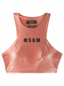 MSGM logo-print performance cropped tank top - PINK