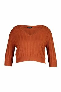 Womens Plus V Neck Soft Knitted Jumper - Brown - 24-26, Brown