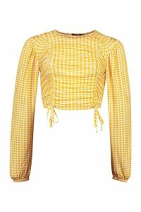 Womens Ruched Front Detail Top - Yellow - 8, Yellow