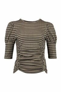 Womens Tonal Check Ruched Front Puff Sleeve Top - Black - 16, Black