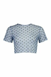 Womens Star Print Mesh Top - Blue - 14, Blue