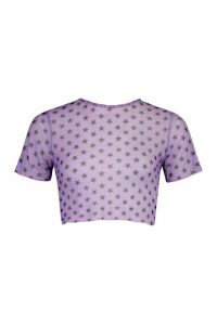 Womens Star Print Mesh Top - Purple - 14, Purple