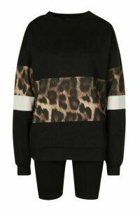 Womens Leopard Print Sweat Top & Short Co-Ord Set - Black - 6, Black