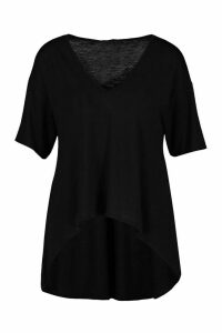 Womens Hi Low Hem T-Shirt - Black - 16, Black
