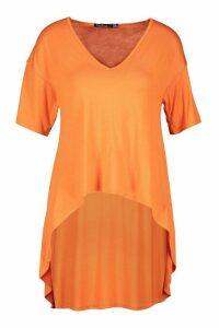Womens Hi Low Hem T-Shirt - Orange - 8, Orange