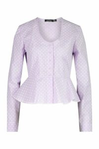 Womens Cotton Mix Polka Dot Button Down Shirt - Purple - 14, Purple