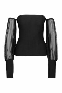 Womens Shirred Effect Mesh Bardot Top - Black - 14, Black