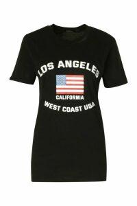 Womens Los Angeles Printed T-Shirt - Black - 16, Black