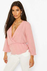 Womens Linen Mix Peplum Hem Blouse - Pink - 14, Pink