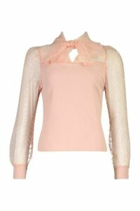 Womens Spot Organza Dobby Mesh Pussybow Top - Pink - 14, Pink