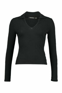 Womens Jumbo Rib Collar Detail Top - Black - 14, Black