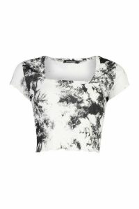 Womens Rib Tye Dye Cap Sleeve Square Neck Top - Black - 16, Black