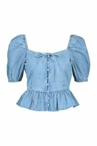 Womens Button Front Frill Denim Top - Blue - 16, Blue