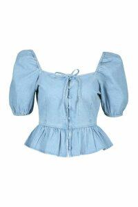 Womens Button Front Frill Denim Top - Blue - 16, Blue