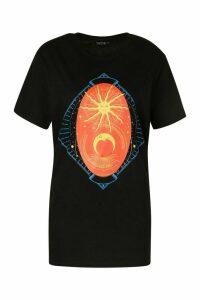 Womens Cosmic Sun And Moon Print T-Shirt - Black - L, Black