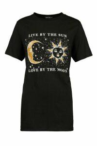 Womens Sun And Moon Slogan Print Shirt - Black - M, Black