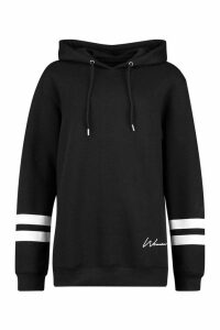 Womens Woman Print Sports Stripe Hoody - Black - 6, Black