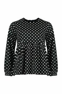 Womens Polka Dot Smock Top - Black - 10, Black