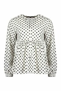 Womens Polka Dot Smock Top - White - 14, White