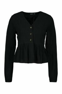 Womens Linen Mix Button Down Frill Blouse - Black - 14, Black