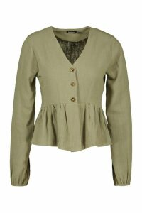 Womens Linen Mix Button Down Frill Blouse - Green - 14, Green