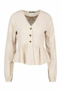 Womens Linen Mix Button Down Frill Blouse - Beige - 12, Beige