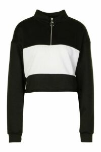 Womens Colour Block Zip Neck Drawstring Crop Sweatshirt - Black - 16, Black