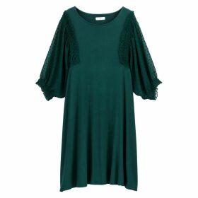 Ruffled Polka Dot Tulle Sleeve Jersey Dress