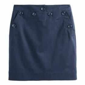 Buttoned Cotton Pencil Skirt