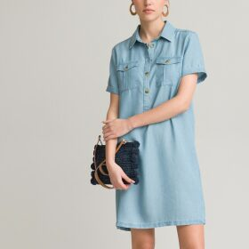 Short Denim Tunic Shift Dress with Short Sleeves