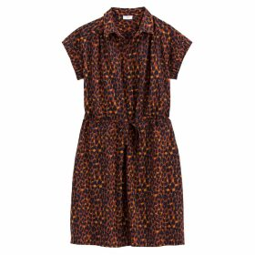 Cotton Leopard Print Tie-Waist Shirt Dress