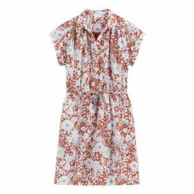 Cotton Floral Print Tie-Waist Shirt Dress