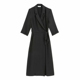 Wrapover Midi Dress with Tailored Collar and Long Sleeves