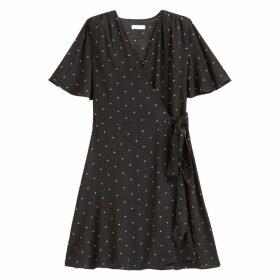 Wrapover Mini Dress in Polka Dot with Short Sleeves