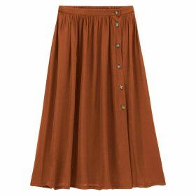 Buttoned Midi Full Skirt