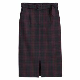 Checked Mid-Length Pencil Skirt