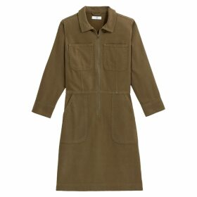 Cotton Utility Shirt Dress with Long Sleeves and Pockets
