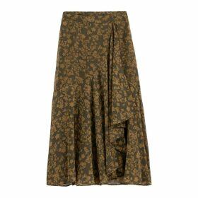 Asymmetric Midi Skirt in Floral Print