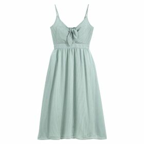 Finely Striped Midi Dress with Shoestring Straps and Bow