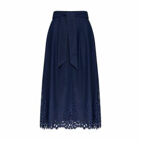 Midi Skirt with Openwork Hem