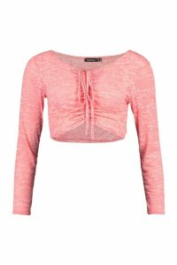 Womens Burnout Ruched Tie Front Top - Pink - 12, Pink