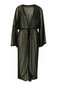 Womens Flared Sleeve Mesh Kimono - Black - M, Black