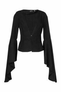 Womens Extreme Flute Sleeve Blazer - Black - 14, Black