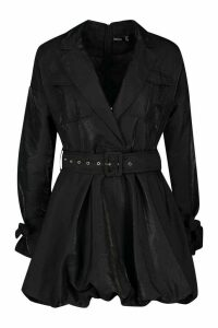 Womens Belted Utility Blazer - Black - 14, Black